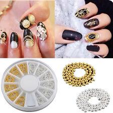 12PCS Gold & Silver 3D Nail Art Tip Metallic Studs Chain Decoration DIY + Wheel