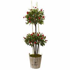 Rose Topiary Tree w/ Farmhouse Planter Realistic Nearly Natural 5.5' Home Decor