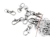 40pc Chrome Silver Lobster Clasp Hook Lanyard Swivel Eye Jewelry Findings BULK