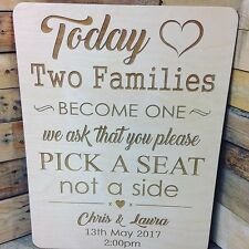 Vintage/Rustic A2 wooden  'pick a seat, not a side' Wedding/Church/ceremony Sign