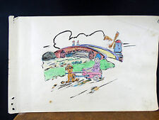 Lovely Watercolor Painting Dog Cart Pulling Child Windmill 1940's Original