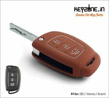 KeyZone Silicone Key Cover fit for New i20, Verna, Xcent Flip Key (Cognac)