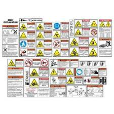MINI Excavator SAFETY DECALS STICKERS Case Takeuchi Bobcat Cat Komatsu Hitachi