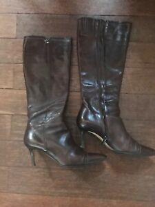 bottes bottines boots femme SANTONI rare superbes marron cuir taille 39
