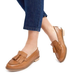 Womens Tan Wide Fit Real Leather Loafers Ladies Tassle Deck Size 2 3 4 5 6 7 8 9