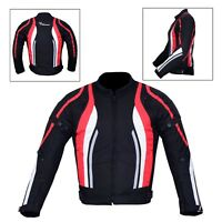 New Men's Motorcycle Motorbike Jacket Waterproof Textile With CE Armoured Red