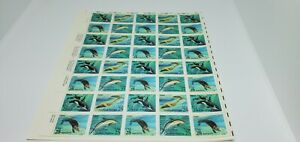 USA~KILLER WHATE~DOLPHIN~SEA OTTER~FULL SHEET~POSTAGE STAMPS~25 CENT~MNH