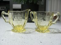 Yellow MacBeth-Evans Depression Glass Etched Grapes Sugar & Creamer - VTG 1920