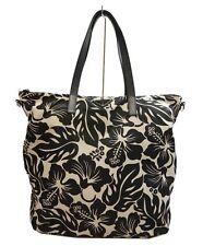 Authentic PRADA Handbag flowers Black Nylon #9618