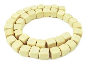 Ambaba-White Pearl Strand Cube Approx. 0 3/8-0 7/16in Wood Beads Natural