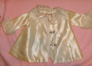 VINTAGE Big Baby Doll satin jacket with ribbon roses & lace trim PRETTY!