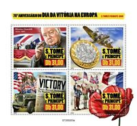 Sao Tome & Principe Military Stamps 2020 MNH WWII WW2 VE Day Churchill 4v M/S