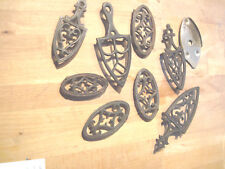 "ANTIQUE MINIATURE CAST IRON ( 3""to 5 inch ) EMIG FLAT IRON TRIVET 9 in all"