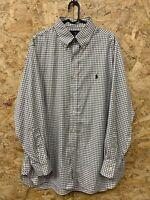 """Men's Polo Ralph Lauren Casual Shirt Slim Fit Check Cotton L Large 16.5"""" 32/33"""