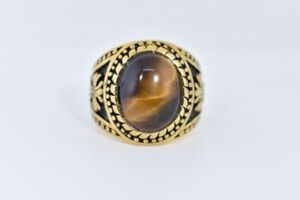 Gold Plated Stainless Steel Genuine Tiger's Eye Size 9 Men's Cross Ring