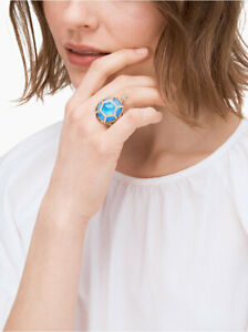 NWT Kate Spade Jewelled Paradise Found Blue Turtle Ring Blue/gold sz 7 $98