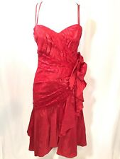 Vintage Prom Dress Red Notorious Taffeta Shiny Size 9 80s 90s Rock Party Dance