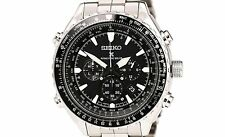 PRE-OWNED $750 Seiko Mens Radio Sync Solar Chronograph Date Dress Watch SSG001