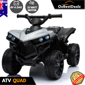 KIDS ELECTRIC ATV QUAD RIDE ON CAR TOY BIKE 4 WHEELER BLACK WHITE