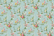 Victorian Floral Vines, French Blue, Charlotte, Northcott REMNANT (3/4 Yard)