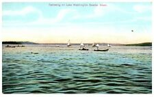 Early 1900s Canoeing on Lake Washington, Seattle, Wa Postcard