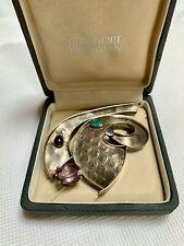 Signed c.1990 Modernist LYNDA THORPE  Sterling Silver Pin w/ Gemstones