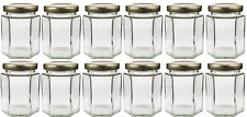 6-Ounce Hexagon Glass Jars 12-Pack; Empty Hex Jars w/Gold Lids for Party Favors,
