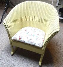 """Vintage Cream Off White Wood Wicker Child Baby Doll 21""""T Rocking Rocker Chair"""