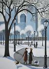 5x7 folk art print of painting Central Park New York dog walk winter pet snow DC