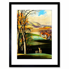 Painting Landscape Sport Golf Course Drive Green Framed Print 9x7 Inch