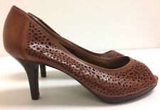 Kelly and Katie Size 6 Women's shoes Heels Brown Leather Peep Toe