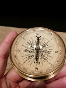 Vintage Antique Style Brass Magnifying Glass Navigational Compass