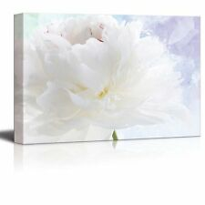 White Flower on a Blue and Purple Watercolor Background - Canvas Art- 12x18
