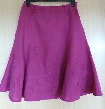 Per Una Ladies Skirt 12 Pink flower Casual Smart Summer M&S Linen Holiday