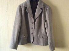 New (other) MICHA Wool-Blend Herringbone Jacket/Blazer Beige Brown  Size 14