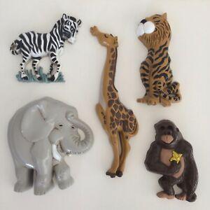 5 PCs Home Interiors & Gifts Safari Animals Nursery Wall Decor Giraffe Elephant