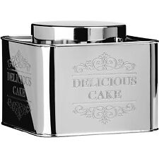 New Large Cake Tin Chai Stainless Steel Jar Storage Cupcakes Canister Lid Indian