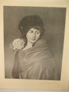 Original Etching Portrait Artist Pencil Signed Young Lady