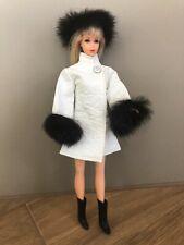 Vtg Barbie White Vinyl Coat & Hat with Black Fur + Boots-Premier, Clone Doll?