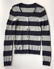 Women's Theory Blue and Gray Striped Ribbed Knit Cardigan Sweater-Sz PS