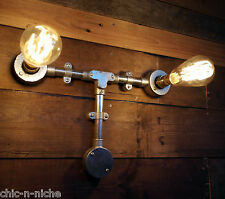 Lámpara De Pared Industrial Tubería Retro Vintage De Lámpara De Pared Luz Steampunk de Metal Doble