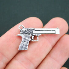 4 Gun Charms Antique Silver Tone 2 Sided - SC5090
