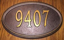 "Oval Custom Cast Aluminum Raised House Number 9407 Plaque Sign  15"" x 9-1/2"""