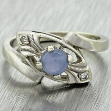 1930s Antique Art Deco 14k Solid White Gold Moonstone Diamond Cocktail Ring