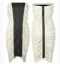 AllSaints L'Avive Ruched Strapless Zip Dress Beige Black PU Strip Party UK12 US8