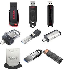 SanDisk 16GB 32GB 64GB 128GB 256GB USB 3.0 Flash Drive Ultra Fit Memory Stick