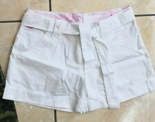 Reebok Belted Shorts White Pink Womens Girls Size 8