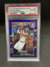 2017 Optic #27 LeBron James Fast Break Purple Disco Prizm /155  PSA 10  Lakers
