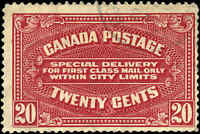 1922 Used Canada 20c F Scott #E2 Special Delivery Stamp