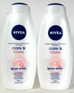(Pack of 2) Nivea Care & Roses Skin Softening Almond Milk Body Wash 25.36 Oz